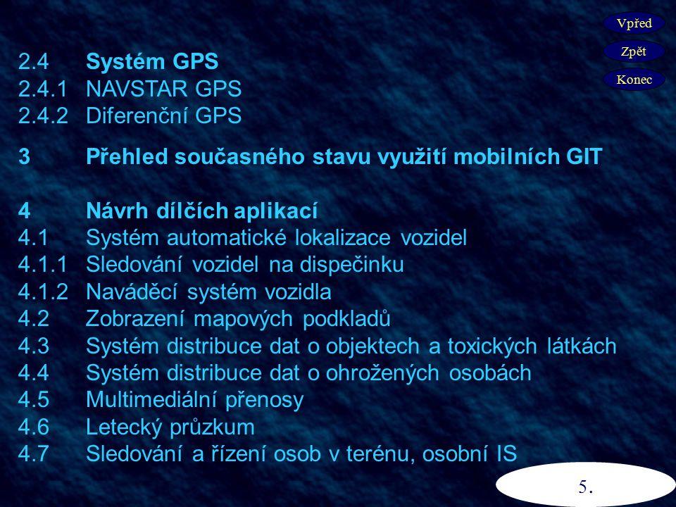2.4 Systém GPS 2.4.1 NAVSTAR GPS 2.4.2 Diferenční GPS