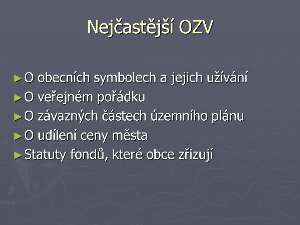 Nejčastější OZV O obecních symbolech a jejich užívání