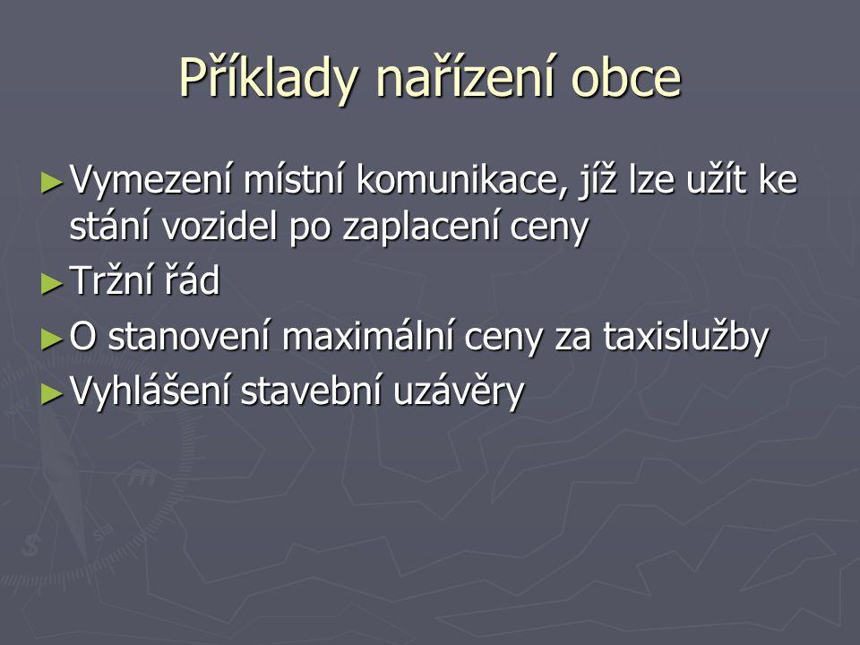 Příklady nařízení obce