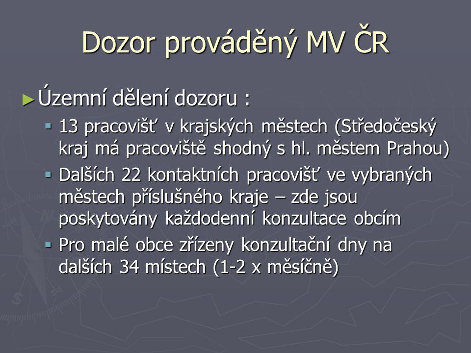Dozor prováděný MV ČR Územní dělení dozoru :