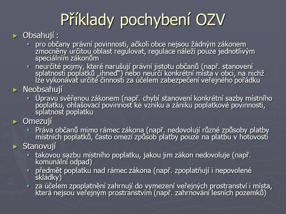 Příklady pochybení OZV