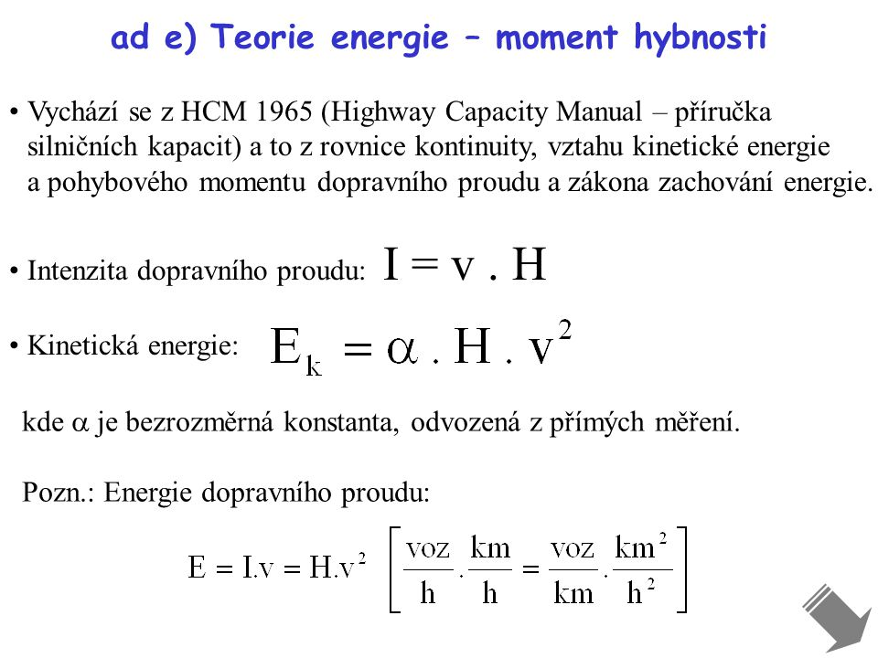 ad e) Teorie energie – moment hybnosti