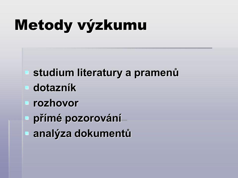 Metody výzkumu studium literatury a pramenů dotazník rozhovor
