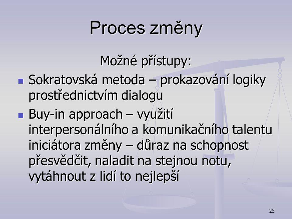 Proces změny Možné přístupy: