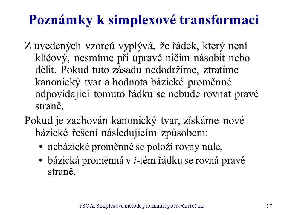 Poznámky k simplexové transformaci