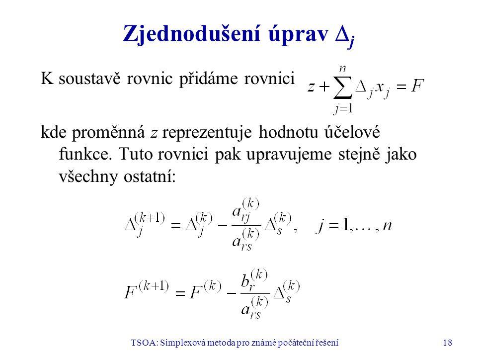 TSOA: Simplexová metoda pro známé počáteční řešení