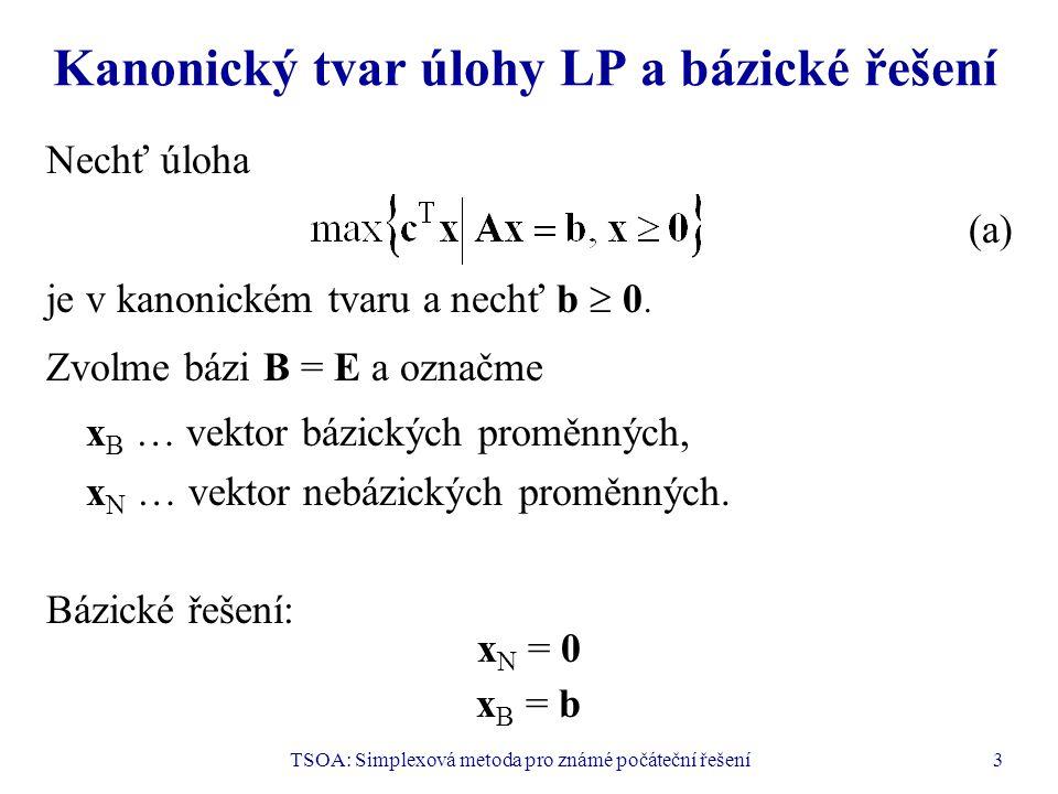 Kanonický tvar úlohy LP a bázické řešení