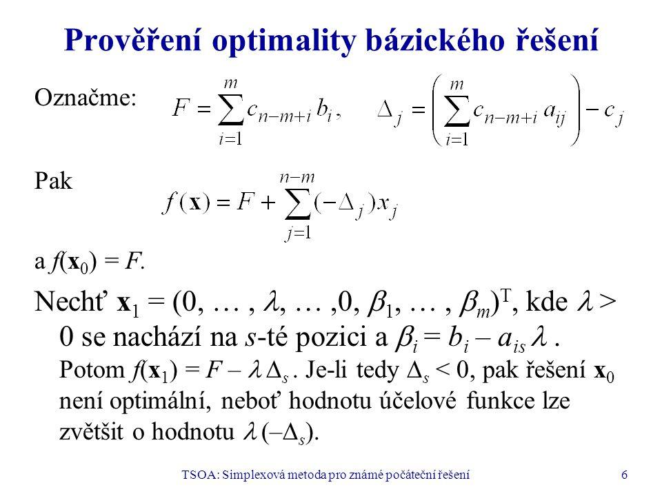 Prověření optimality bázického řešení