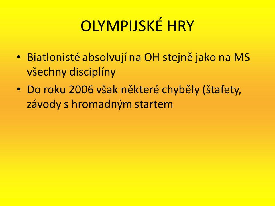 OLYMPIJSKÉ HRY Biatlonisté absolvují na OH stejně jako na MS všechny disciplíny.