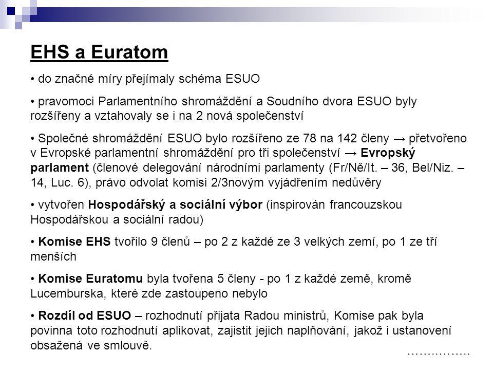 EHS a Euratom do značné míry přejímaly schéma ESUO