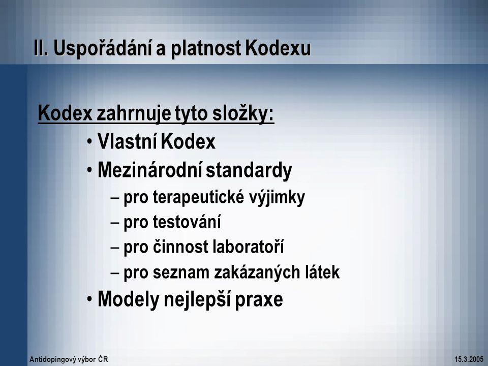 II. Uspořádání a platnost Kodexu