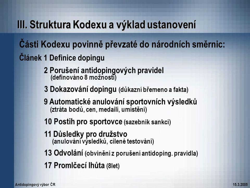 III. Struktura Kodexu a výklad ustanovení