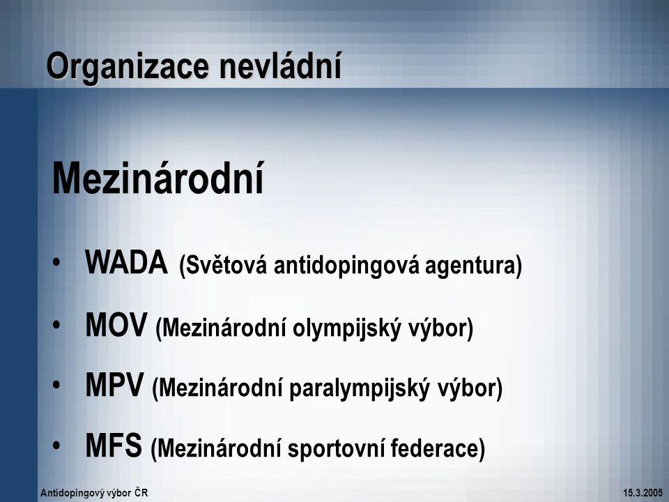 Mezinárodní Organizace nevládní WADA (Světová antidopingová agentura)