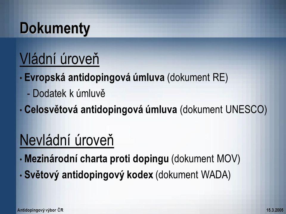 Dokumenty Vládní úroveň Nevládní úroveň