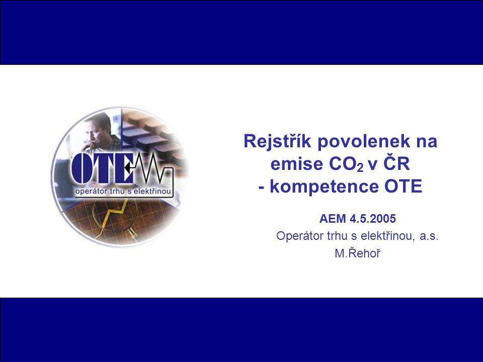 Rejstřík povolenek na emise CO2 v ČR - kompetence OTE