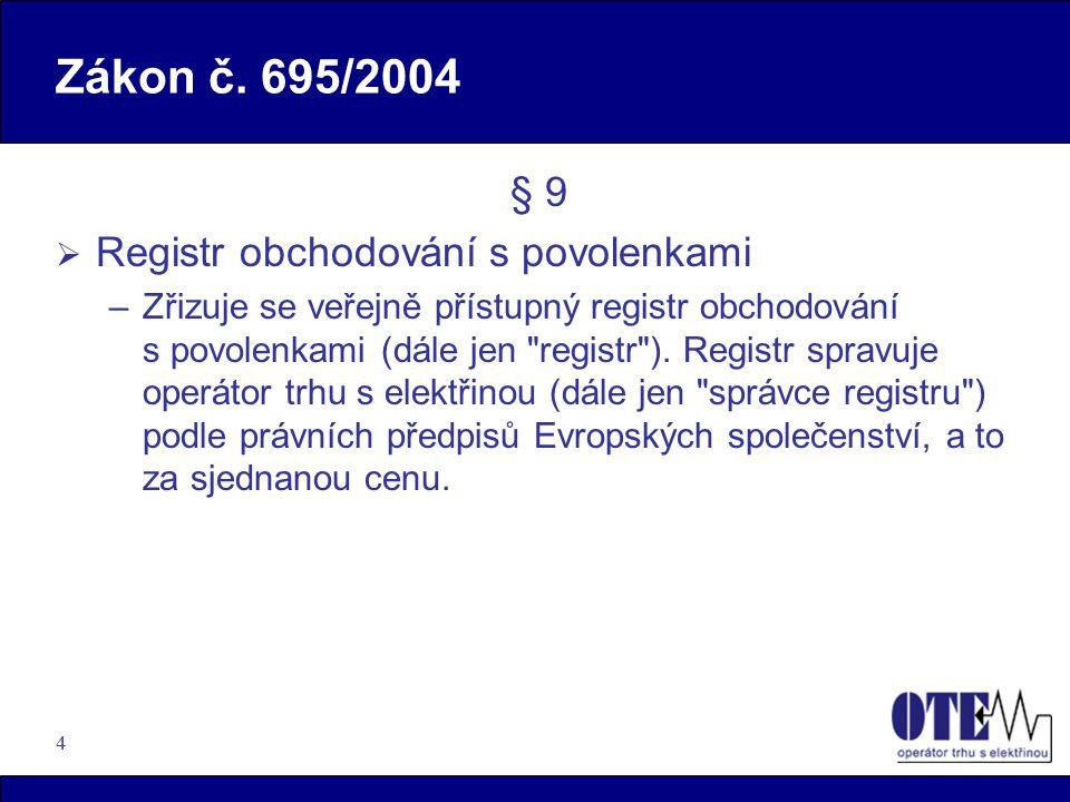 Zákon č. 695/2004 § 9 Registr obchodování s povolenkami