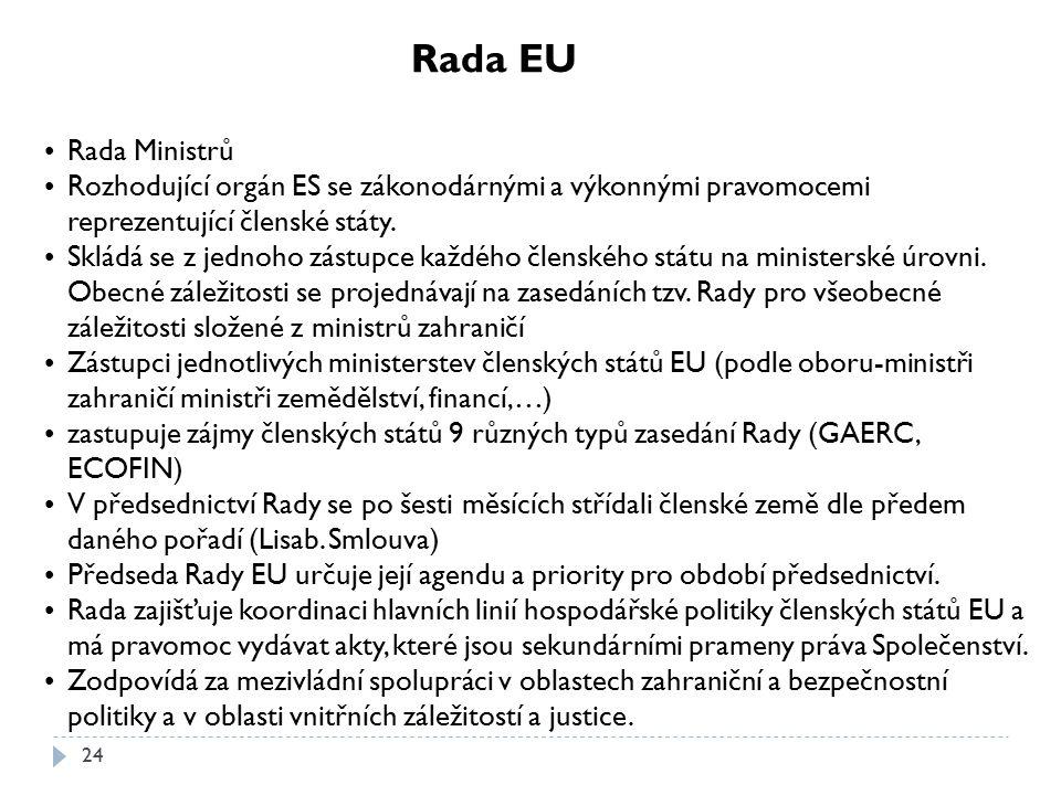 Rada EU Rada Ministrů. Rozhodující orgán ES se zákonodárnými a výkonnými pravomocemi reprezentující členské státy.