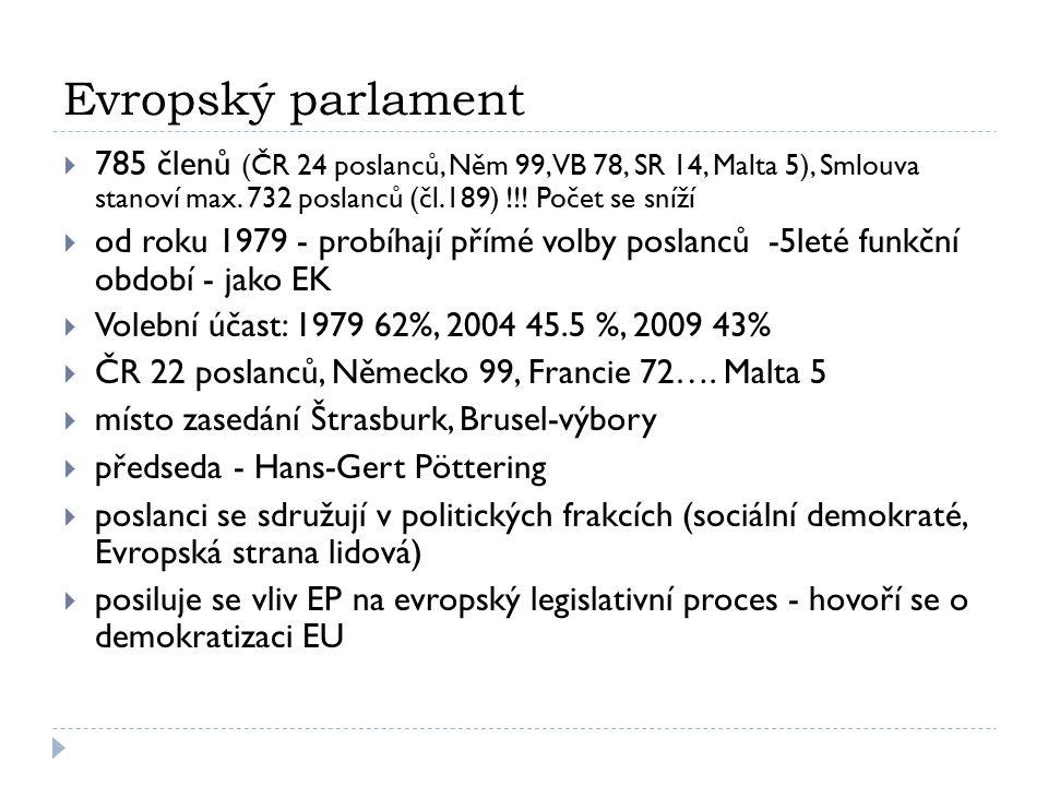 Evropský parlament 785 členů (ČR 24 poslanců, Něm 99, VB 78, SR 14, Malta 5), Smlouva stanoví max. 732 poslanců (čl.189) !!! Počet se sníží.