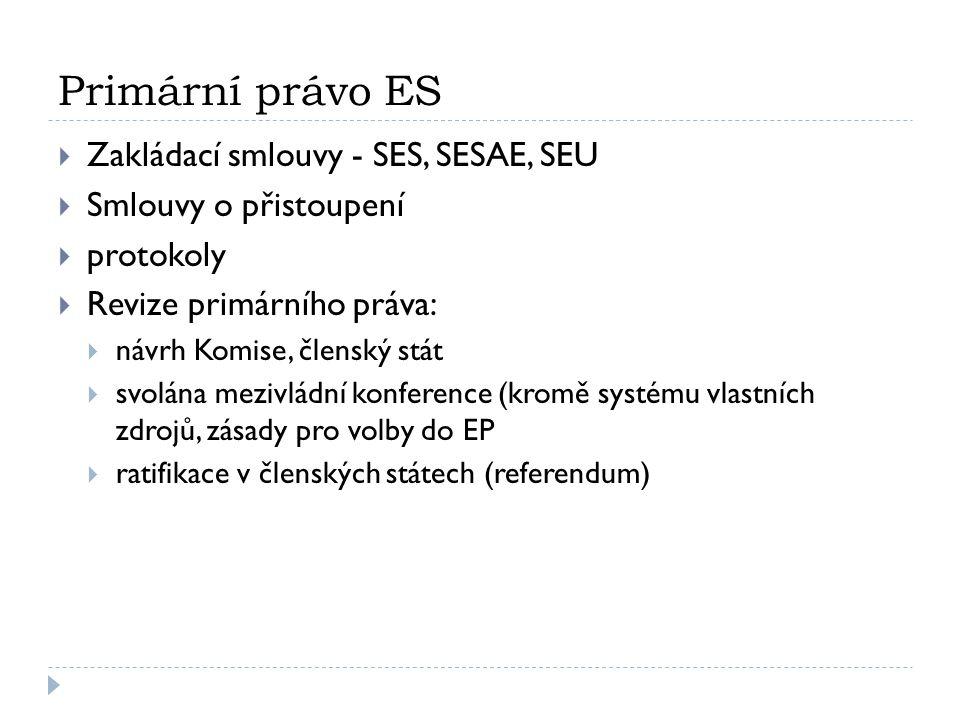 Primární právo ES Zakládací smlouvy - SES, SESAE, SEU