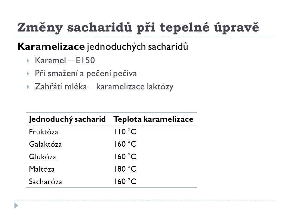 Změny sacharidů při tepelné úpravě