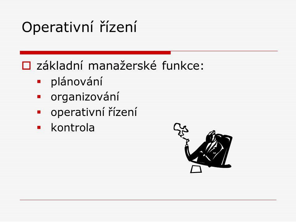 Operativní řízení základní manažerské funkce: plánování organizování