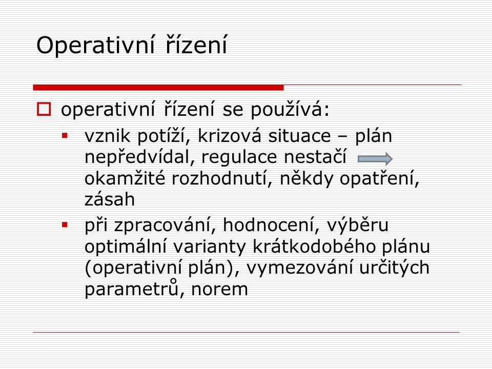 Operativní řízení operativní řízení se používá: