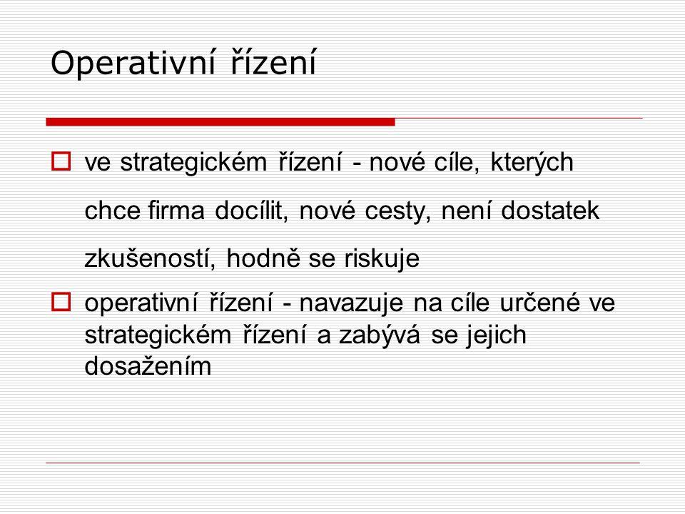 Operativní řízení ve strategickém řízení - nové cíle, kterých chce firma docílit, nové cesty, není dostatek zkušeností, hodně se riskuje.