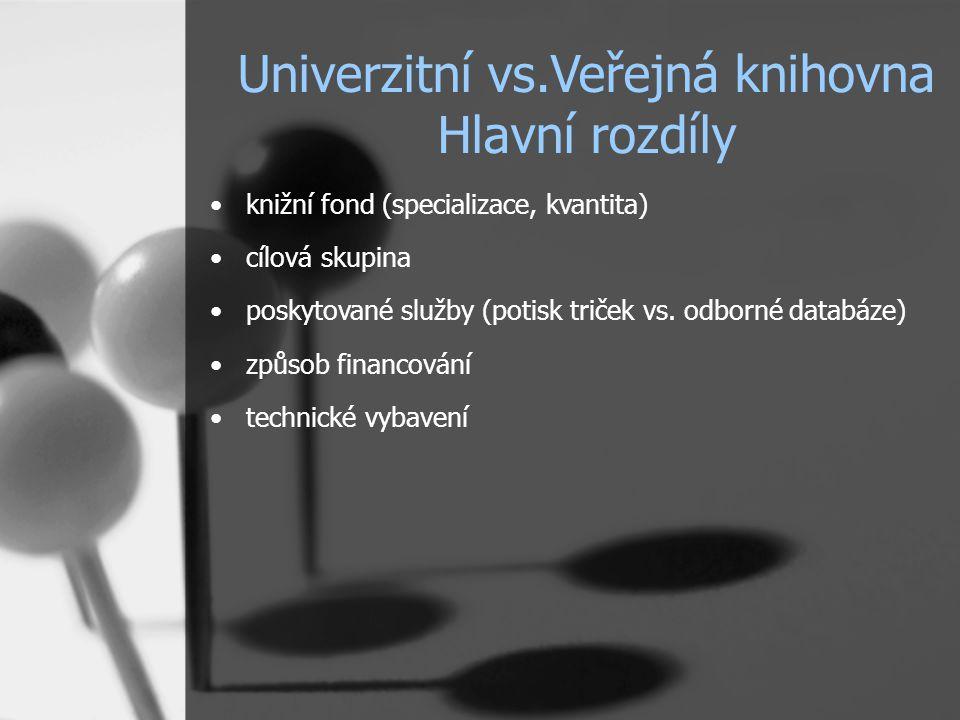 Univerzitní vs.Veřejná knihovna Hlavní rozdíly