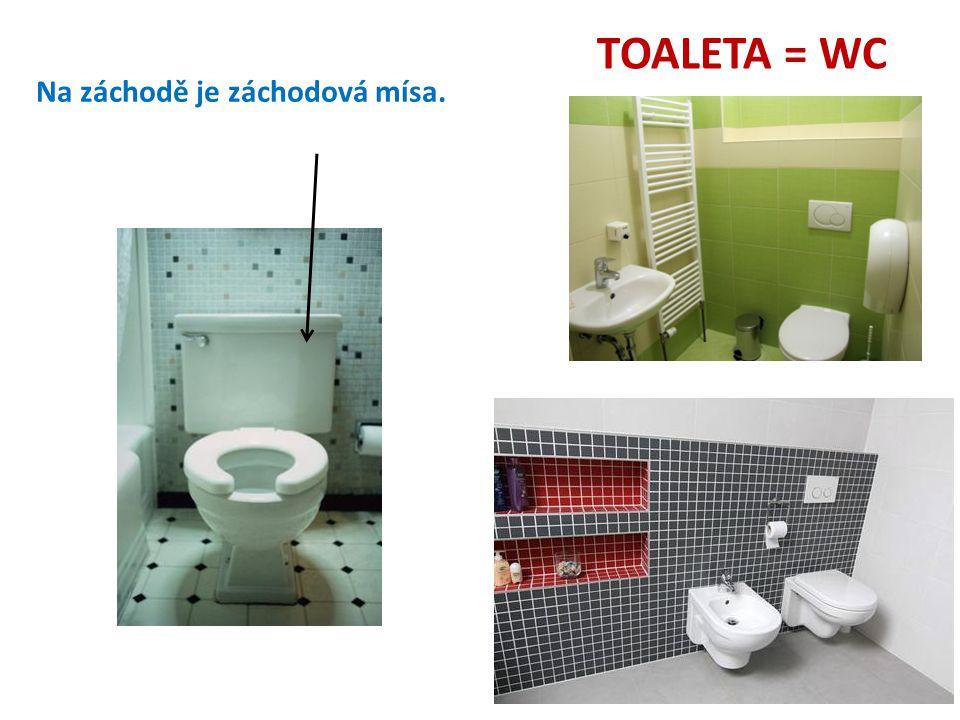 TOALETA = WC Na záchodě je záchodová mísa.