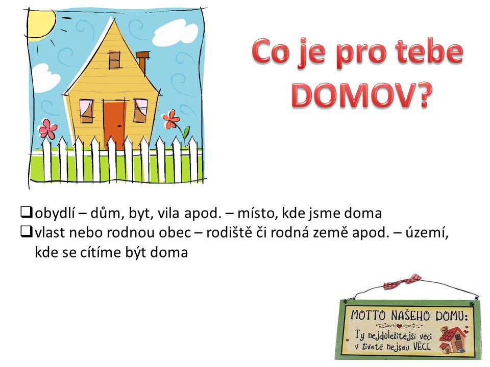Co je pro tebe DOMOV obydlí – dům, byt, vila apod. – místo, kde jsme doma.