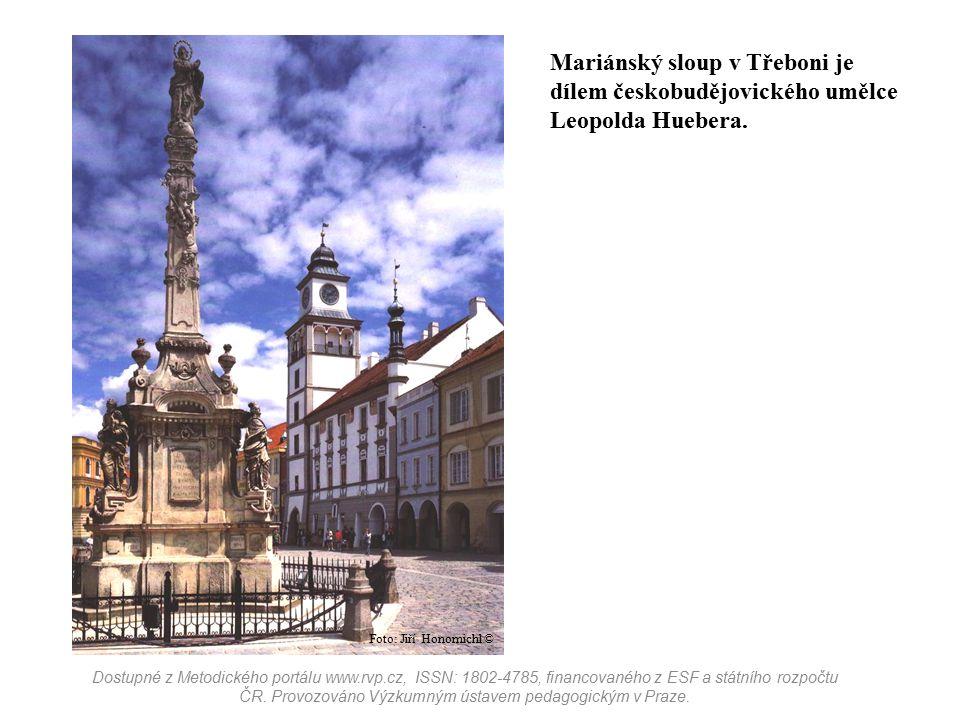 Mariánský sloup v Třeboni je dílem českobudějovického umělce Leopolda Huebera.
