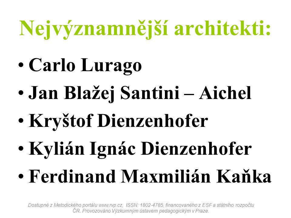 Nejvýznamnější architekti: