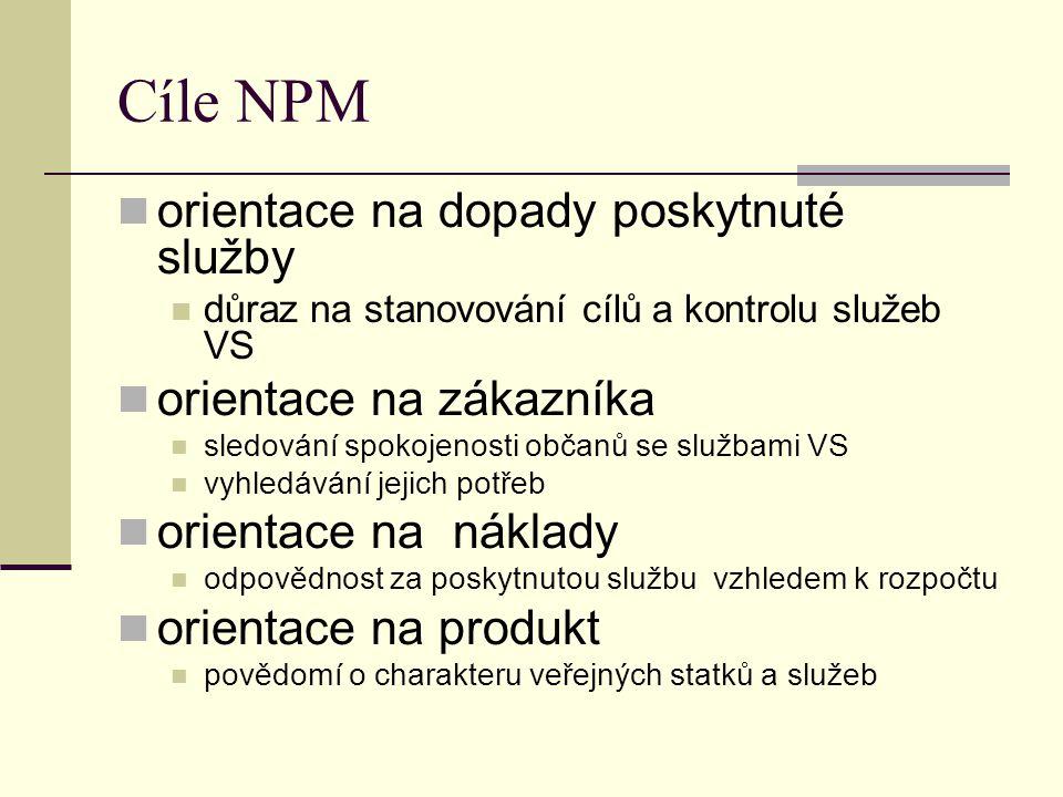 Cíle NPM orientace na dopady poskytnuté služby orientace na zákazníka
