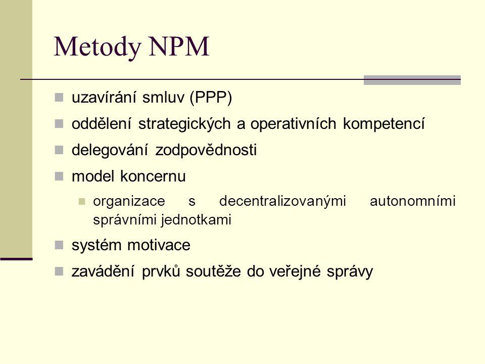 Metody NPM uzavírání smluv (PPP)