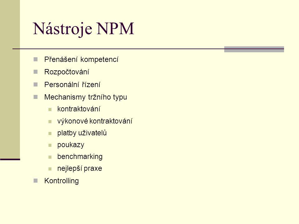 Nástroje NPM Přenášení kompetencí Rozpočtování Personální řízení