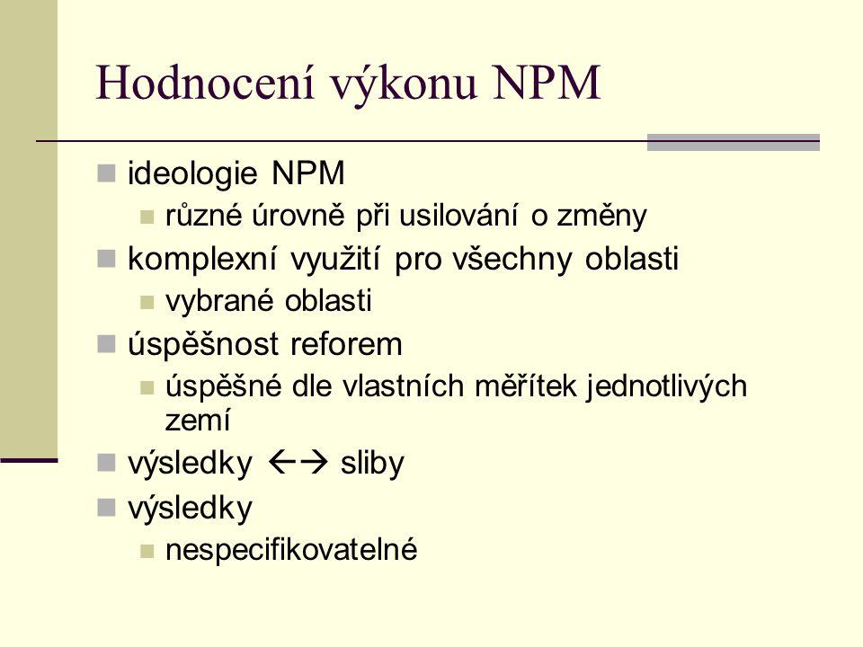 Hodnocení výkonu NPM ideologie NPM