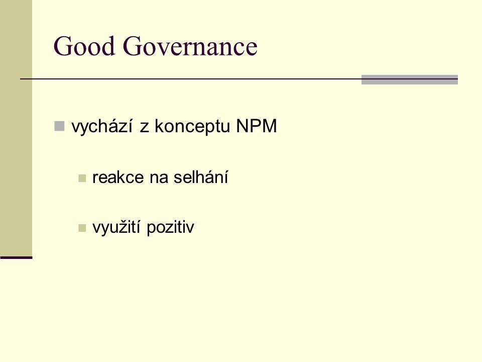 Good Governance vychází z konceptu NPM reakce na selhání