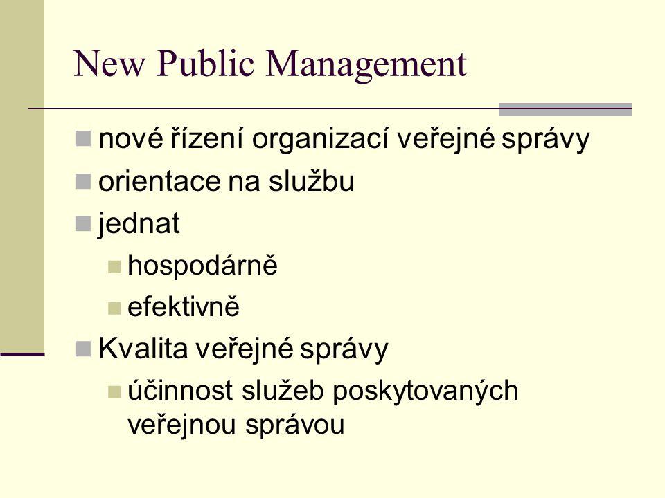 New Public Management nové řízení organizací veřejné správy