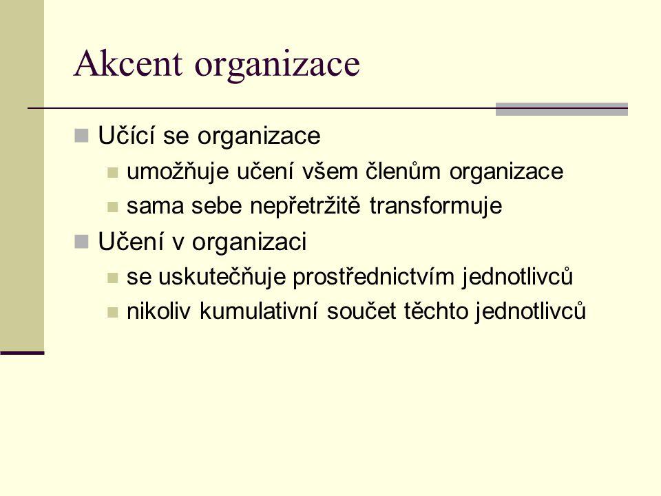 Akcent organizace Učící se organizace Učení v organizaci