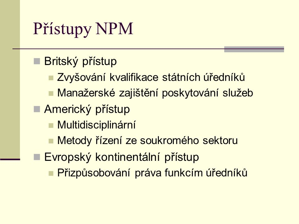 Přístupy NPM Britský přístup Americký přístup
