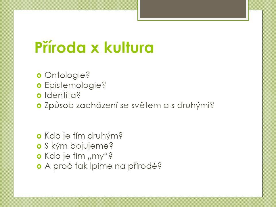 Příroda x kultura Ontologie Epistemologie Identita