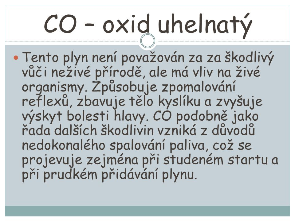 CO – oxid uhelnatý