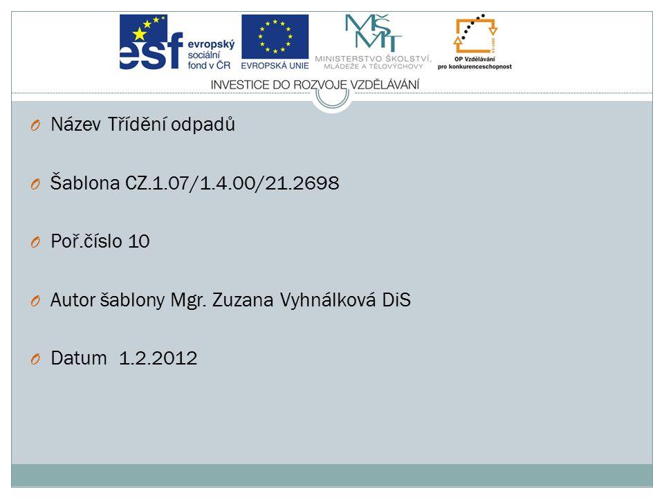 Název Třídění odpadů Šablona CZ.1.07/1.4.00/21.2698. Poř.číslo 10. Autor šablony Mgr. Zuzana Vyhnálková DiS.