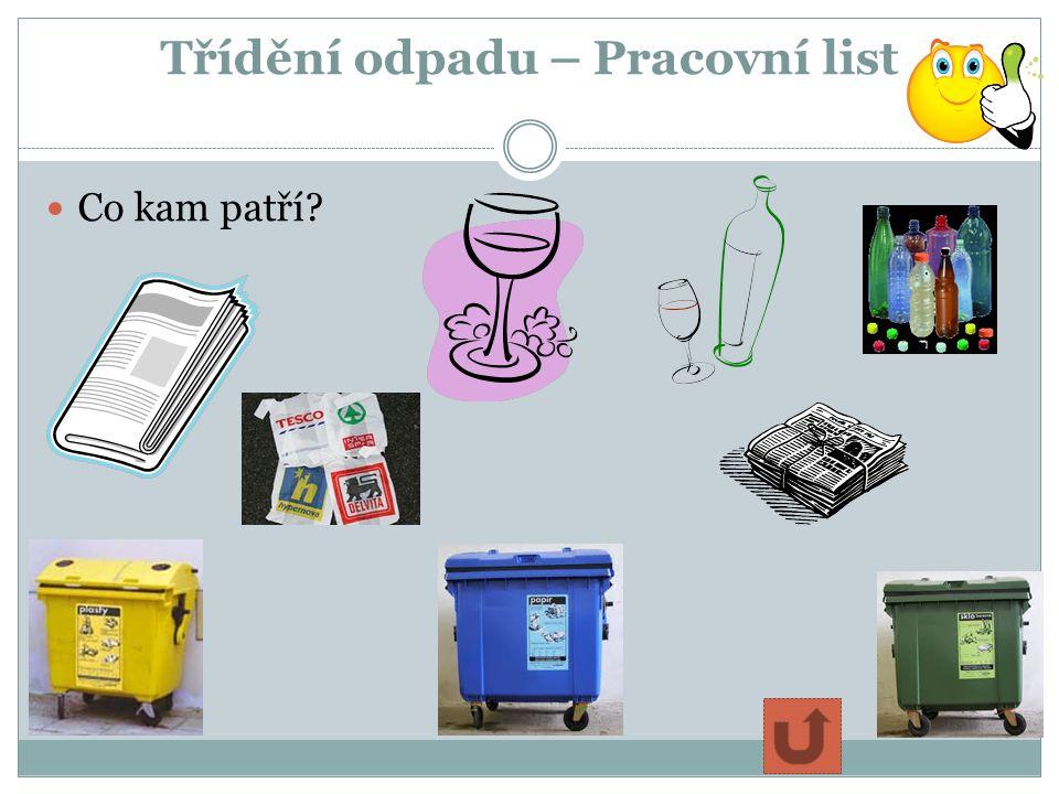 Třídění odpadu – Pracovní list