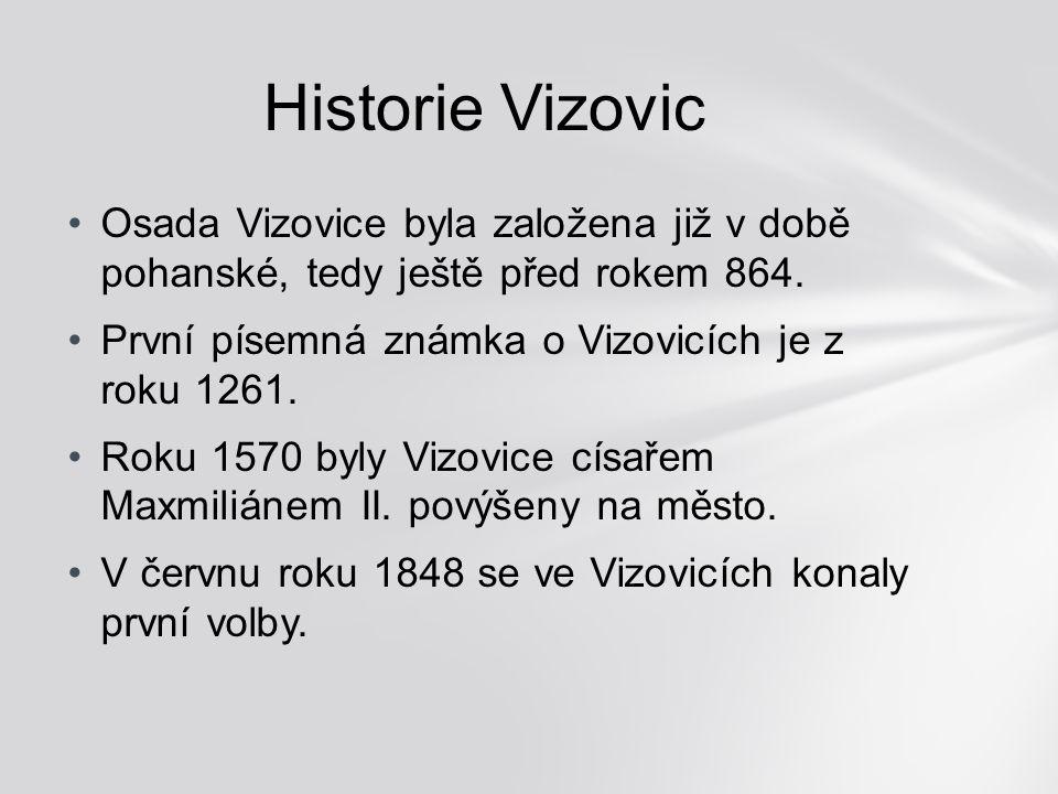 Historie Vizovic Osada Vizovice byla založena již v době pohanské, tedy ještě před rokem 864. První písemná známka o Vizovicích je z roku 1261.