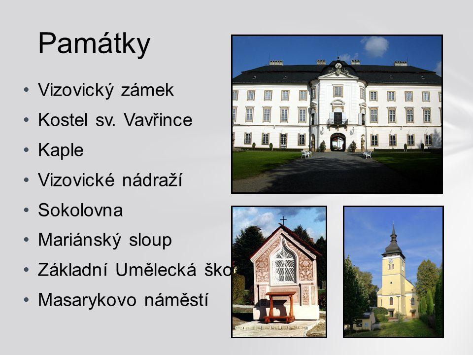 Památky Vizovický zámek Kostel sv. Vavřince Kaple Vizovické nádraží