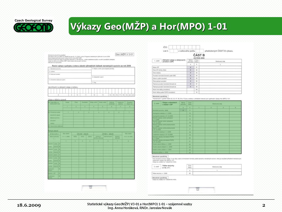 Výkazy Geo(MŽP) a Hor(MPO) 1-01
