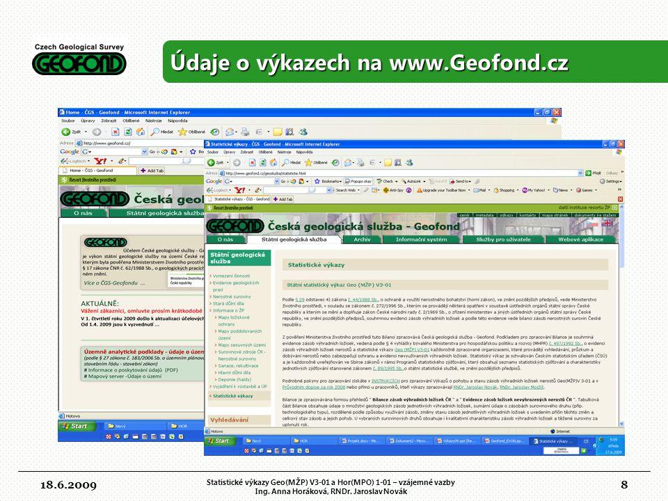 Údaje o výkazech na www.Geofond.cz
