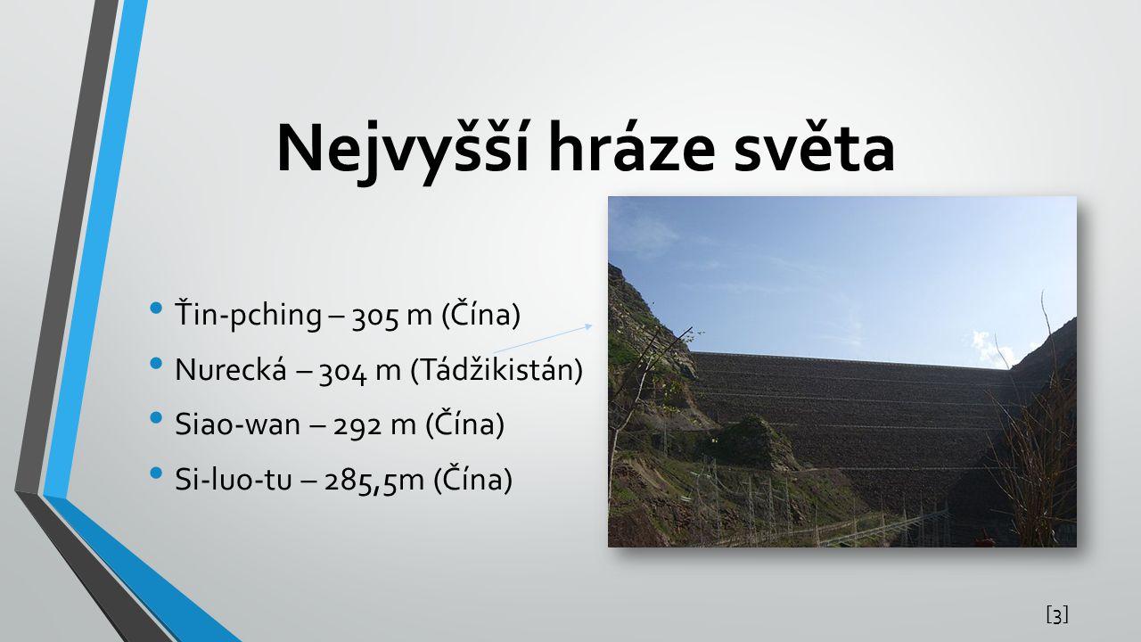 Nejvyšší hráze světa Ťin-pching – 305 m (Čína)