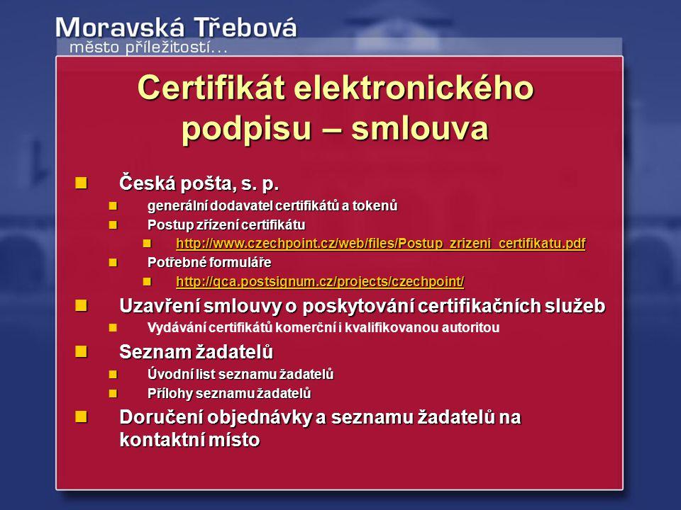 Certifikát elektronického podpisu – smlouva